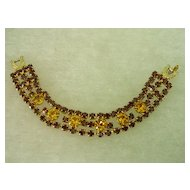 Orange and Yellow Rhinestone Wide Bracelet