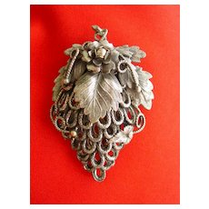 Dress Clip of Ornate Filigreed Metal  Leaf Motif  Design Victorian Style