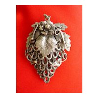 Huge Vintage Victorian Style Ornate Filigreed Metal w Leaf Motif Dress Clip