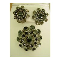 Weiss Rhinestone  Parure Matching Earrings and Brooch and bracelet