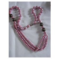 Vintage Necklace of Pink Crystal Beads w AB Finish and Sterling Silver Beads & Clasp