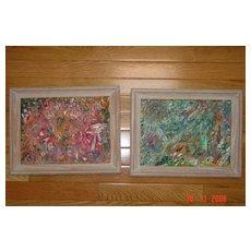 Pair of Abstract Paintings 1964 in Original Oak Frames