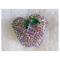 Apple of My Eye Aurora Borealis Rhinestone Pin