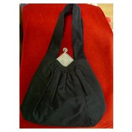 Art Deco Black Faille Taffeta Gathered Front Jewel Purse By Guild Creations