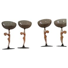 Art Deco Nude Cordial Aperitif Wine Glass Amber & Amethyst Color