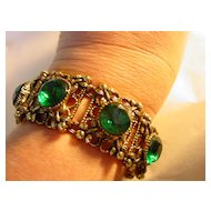 Huge Ornate Chunky Big Green Rhinestone Wide Bracelet