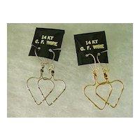 14KT Gold Filled Wire Hoop Pierced Earrings Big Heart Design Dangles