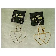 14KT Gold Filled Wire Hoop Pierced Earrings Big Heart Design Dangles