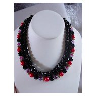 Black Crystal & Pink Purple Satin Stone 3 Strand Necklace