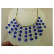 Vintage Blue  & AB Crystal Long Dangle Cascade Necklace