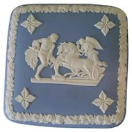 Blue & White Wedgwood Trinket Box w Lid  Chariots Angels & Souls Design