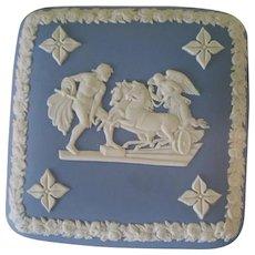 Blue & White Wedgwood Trinket Box w Lid  Chariots Angels & Souls Design