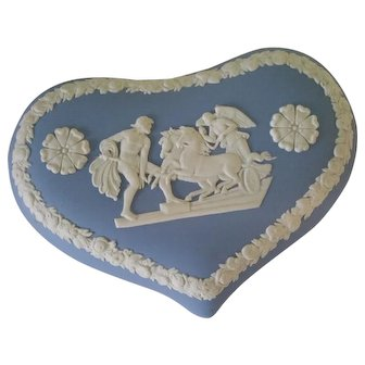 Blue and White Heart Shape Trinket Box w Lid  Chariots, Angels and Souls Design