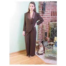 Women's Dressy Formal Brown Tuxedo Jumpsuit by Cache