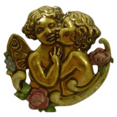 Guardian Cherub Angel with Kissing Child Pin Nouveau Style