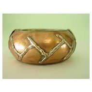 Copper over 800 Silver  Wide Bangle Style Bracelet