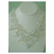 Beautiful Aurora Borealis Cut Crystal Glass Bead Festoon Necklace