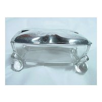 International Silver Company Glass Bowl Dish w Silverplate Lid Desk Accessory