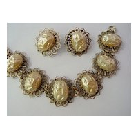 Huge Dimple Cabochon Baroque Fake Pearl Bracelet w Earrings Demi Parure