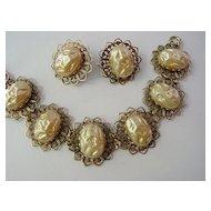 Huge Dimple Cabochon Baroque Fake Pearl Bracelet w Earrings Demi Parure