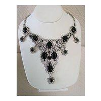 Juliana Drop Dead Drippy Diva Delight Black Rhinestone Huge Necklace