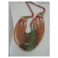 Multi Color Multi Strand Clay Beaded Boho Bib Necklace