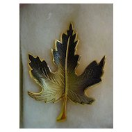 Autumn Brown Enamel Leaf Pin.