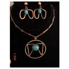 Vintage Indian Deer HooF Symbol Brass and Faux Turquoise Demi Parure