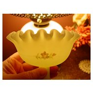 Fenton Yellow Custard Hand Painted Signed Compote