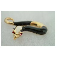 Gerry's Enamel Gold Plate Snake Pin Brooch