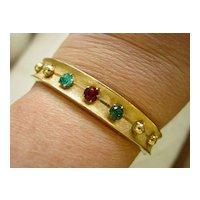Red and Green Rhinestone Bangle Bracelet