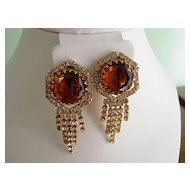 Huge Red Carpet Amber and Rhinestone Dangle Shoulder Duster Earrings
