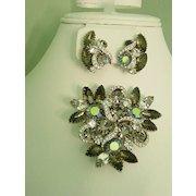 Aurora Borealis & Smokey Navette Rhinestone Huge Layered Kramer Brooch w Earrings