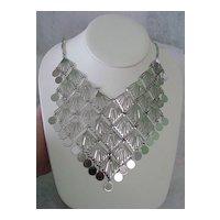 Large Silvertone Dangle Bib Necklace