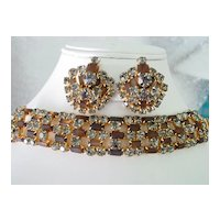 Spectacular  Demi Parure  Layered Frosted Root Beer and Black Rhinestone Wide Bracelet and Earrings Demi Parure