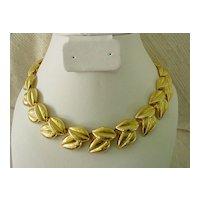 Vintage Double Leaf Link Goldtone Necklace