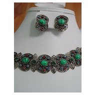 Ornate Filigree Marble Cabochon and Rhinestone Bracelet & Earring Set