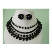 Black Glass Bead Necklace multi strand and earrings Demi Parure