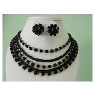 Multi 5 Strands Black Bead Necklace and Earrings Demi Paure