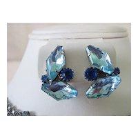 Big Odd Shape Blue Rhinestone Bracelet and Earring Parure Set