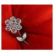 Open Back Unfoil Clear Bezel Cut Crystal Pin Brooch