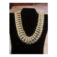 Big Open Loop Swirly Solid Goldtone Metal Link Necklace