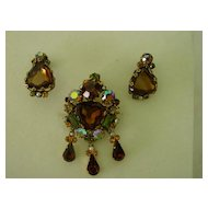 Austria  Crown  Rhinestone Dangle Pin w Earrings Demi Parure