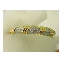 Goldtone Bangle Bracelet with  Rhinestone Accents