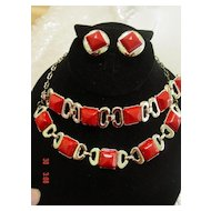 Vintage Red Chicklets 3 piece Parure Bracelet  Necklace Earrings