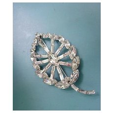 Large Marquise and Baguettes Rhinestone Layered Leaf Design Pin Brooch
