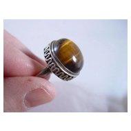 Vintage Sterling Silver Tiger Eye Ring