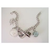 Vintage Sterling Silver Double Loop Charm Bracelet w Charms