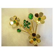 Huge Sterling Silver Green Rhinestone Floral Bouquet Brooch Pin