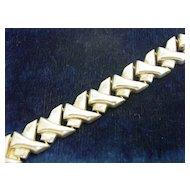 Vintage Sterling Silver Modernistic Abstract Link Bracelet